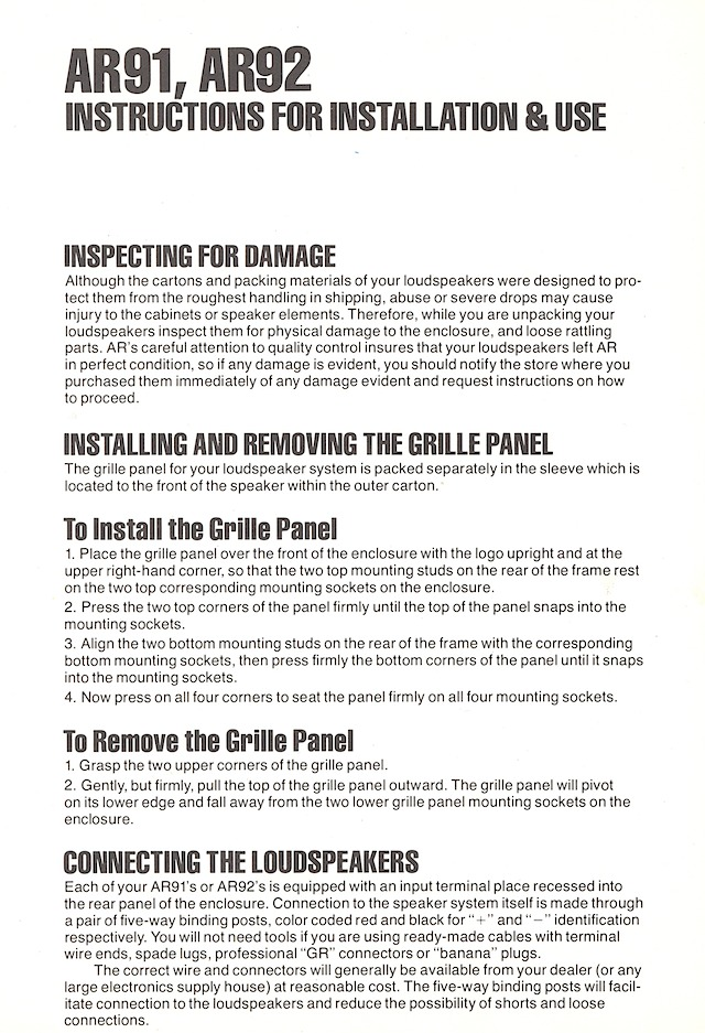 AR91 instructions, page 1