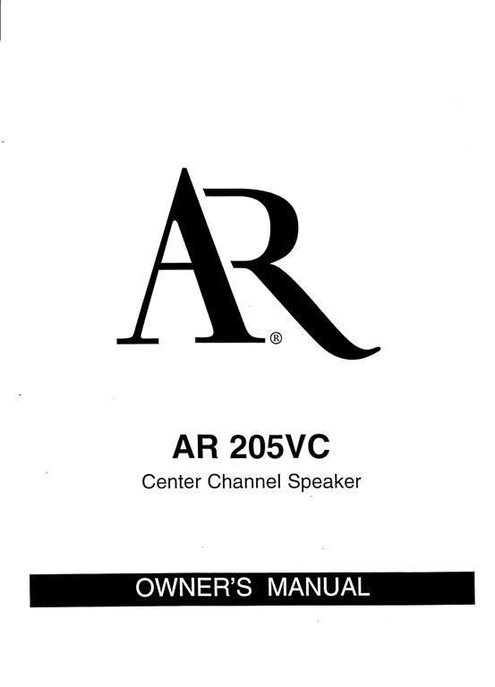 AR 205vc Manual Page 1