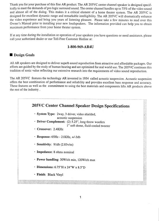 AR 205vc Manual Page 2