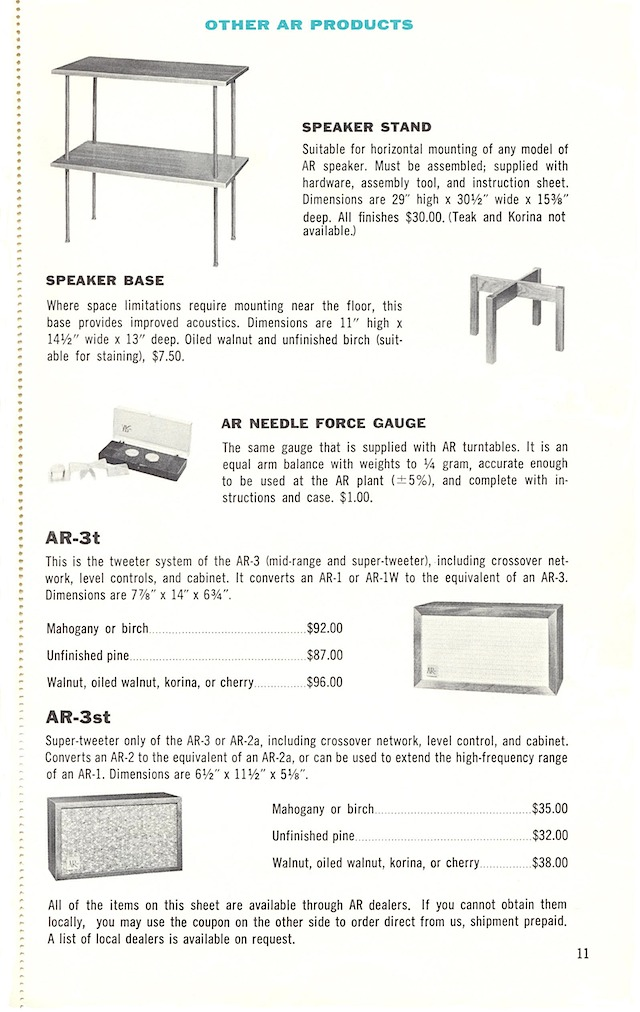 AR-3 and turntable page 11