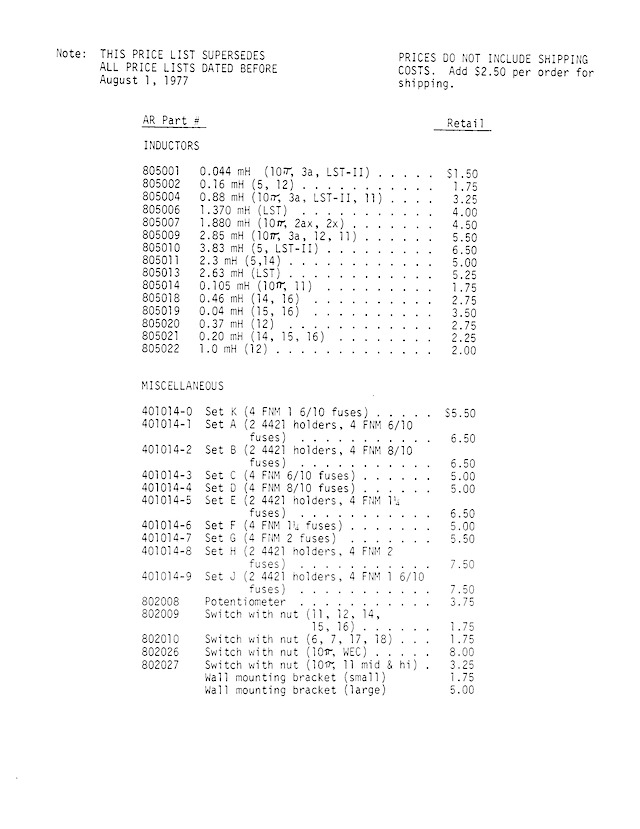 AR Parts Packet August 1 19770006